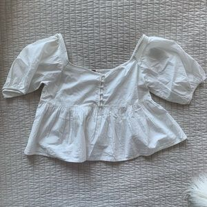 NWT Free People Cotton Button-Down Peasant Top